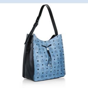 NWT Authentic MCM Hedy Hobo In Denim Blue